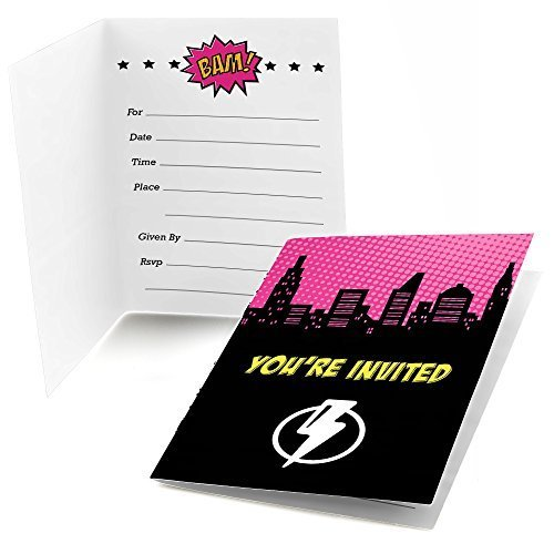 Big Dot of Happiness BAM! Girl Superhero - Baby Shower or Birthday Party Fill in Party Invitations (8 Count) ()
