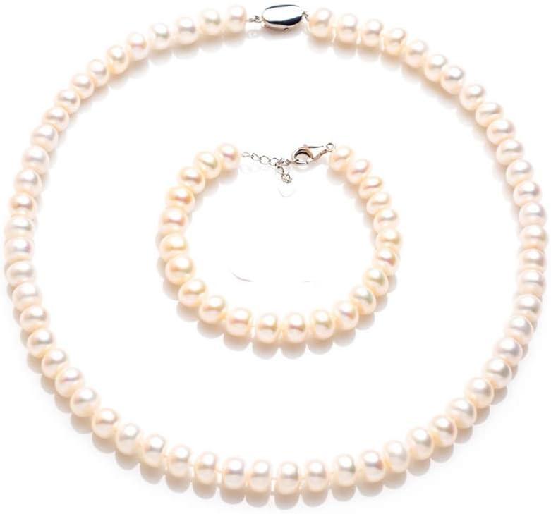 彼女のために真珠のネックレスセット、S925シルバークラスプ8〜9ミリメートル天然淡水真珠のペンダントキットの結婚