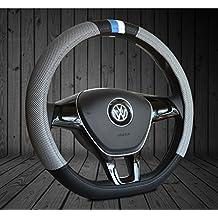"Ice Gray D ring Shape Steering Wheel Cover Leather Ice Silk Auto for VW Volkswagen New Lavida Santana Jetta 15"""