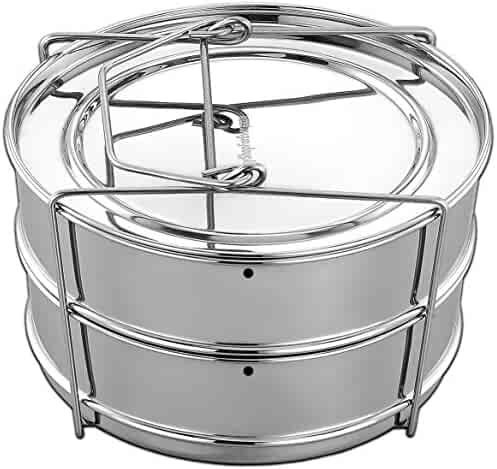 EasyShopForEveryone Stackable Stainless Steel Pressure Cooker Steamer Insert Pans - Instant Pot in Pot Accessories - Steaming, Baking, Reheating, Lasagna Pans - Safety Vent Holes - Fits 5,6, 8 qt IP