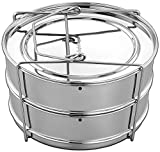 EasyShopForEveryone Instant Pot Stackable 2 Tier Stainless Steel Pressure Cooker Steamer Insert Pans with Vent Holes