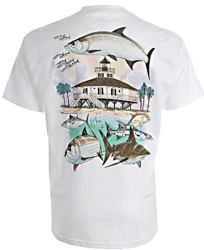 Guy Harvey Boca Grande Lighthouse T-Shirt XX-Large White (Boca Grande Lighthouse)