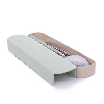KUSOOFA Cuberterías combinadas Tenedor Cuchara Palillos Acero Inoxidable de Calidad Alimentaria Vajilla Cubiertos reutilizables para viajar