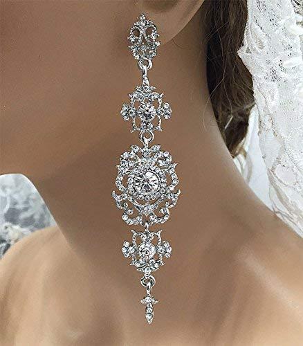 Silver Cubic Zircon Crystal Chandelier Bridal Wedding - Crystal Duchess