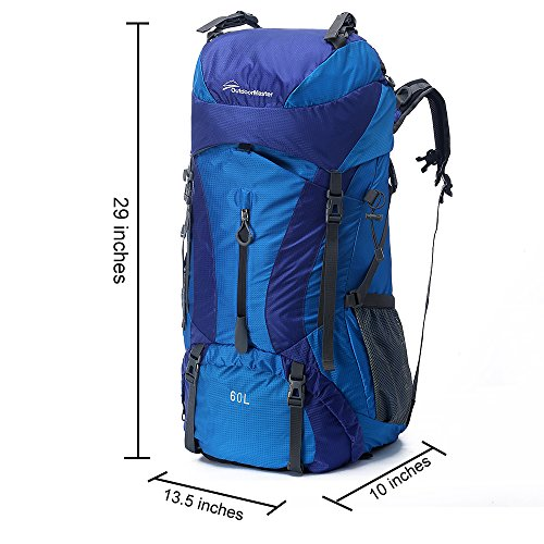 OutdoorMaster Hiking Backpack 60L - Internal Frame Weekend/Multiday Pack w/ Waterproof Rain Cover - for Hiking, Travel, Camping (Blue)
