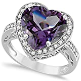 Heart Shaped Amethyst and Diamond Ring Halo 14K White Gold 5.41ct