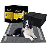 """Thxpet Pet Puppy Pads Black Activated Carbon 22"""" by 23"""" Dog Pee Potty Training Pad Bamboo Charcoal 80 Count"""