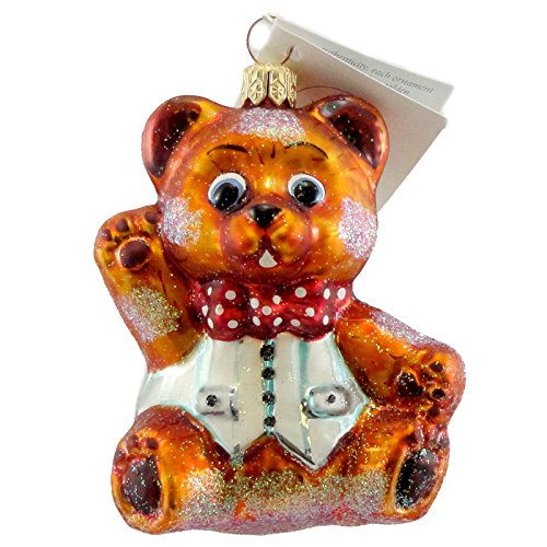 Christopher Radko BABY HUGGY BEAR Glass Ornament Teddy Bow Tie (Christopher Bear)