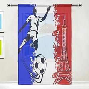 BIGJOKE Rideau de fenêtre transparent motif Tour Eiffel Football France Drapé Cuisine Salon Chambre Bureau 1 pièce 12