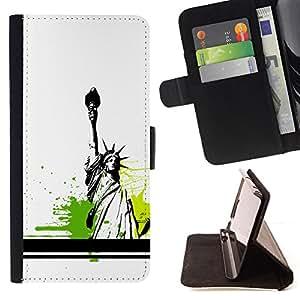 BullDog Case - FOR/Sony Xperia m55w Z3 Compact Mini / - / Statue Of Liberty Color Splash /- Monedero de cuero de la PU Llevar cubierta de la caja con el ID Credit Card Slots Flip funda de cuer