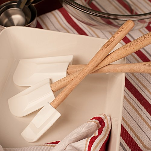 Heirloom Living 3-Piece Ultra-Pure Silicone Spatula Set - Wooden Handle - Made in the USA (Simply White)