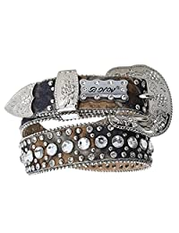 Girl's Kids Crystals Mossy Camo Leather Western Bling Belt