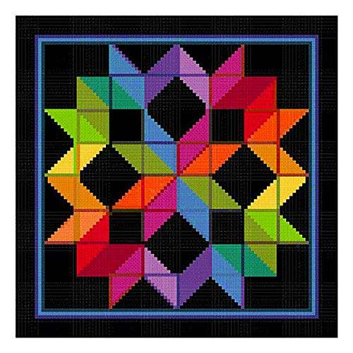 Carpenters Wheel Inspired by an Amish Quilt Counted Cross Stitch Pattern
