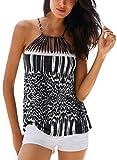 Podlily Women Summer Casual Boho Vest Sleeveless Shirt Racerback Cami Tank Top Plus Size XX-Large Leopard