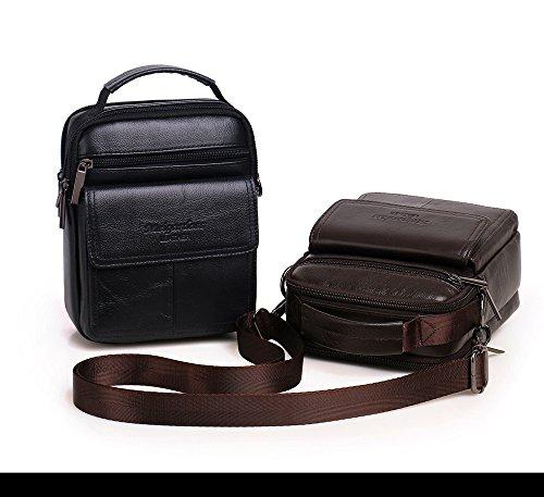 Meigardass Men's Genuine Leather Small Messenger Bag Shoulder Bag Briefcase Handbag (black) by Meigardass (Image #2)