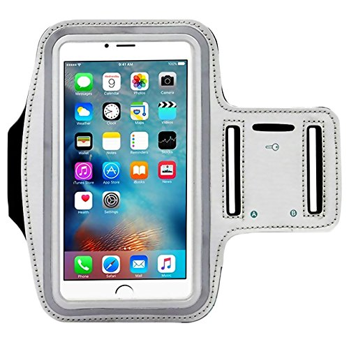(Universal Water Resistant Sports Armband,iBarbe,case Bundle with Screen Protector for iPhone 8/7/6/6S Plus,LG G6 G5,Galaxy s8,s8 Plus s7 s6 Edge,Note 5 Sport Exercise Running Pouch Key Holder (Gray))