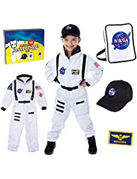 Premium Deluxe Astronaut Costume for Kids ages 3-7 with Nasa Bag and Hat
