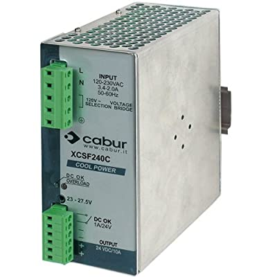ASI XCSF240C DIN Rail Mount Power Supply with Pluggable Wire Connections, 24 VDC, 240W, 10 amp Output, 90 to 264 VAC Input