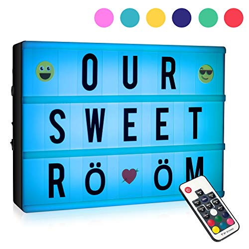LooEooDoo 7 Colours Changing Cinematic Light Up Box with 120 Letters, A4 Size RGB LED Message Cinema Sign with Wireless Remote Control ()