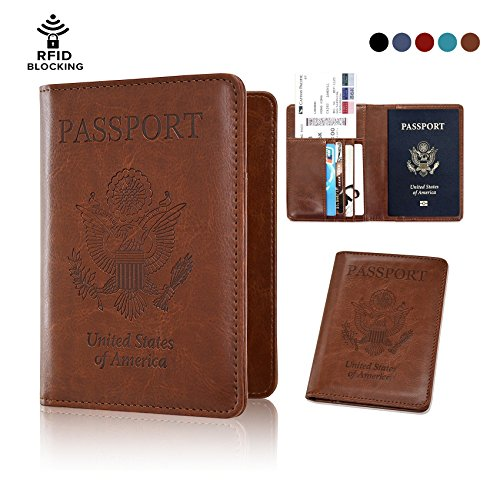 Passport Holder Cover - Rfid Blocking Leather Passport Case Travel Wallet for 4 Cards, Ticket, Cash, Passport (Brown) By Talent