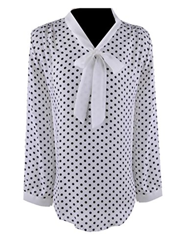 GAGA women Polka Dot Bow Tie Long Sleeve Chiffon Blouse Shirt