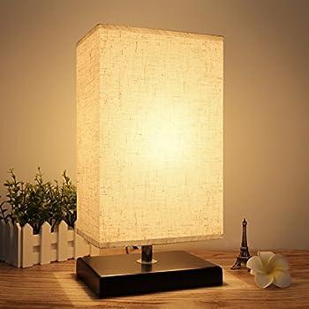 Seealle Wood Table Lamp Minimalist Bedside Table Lamp