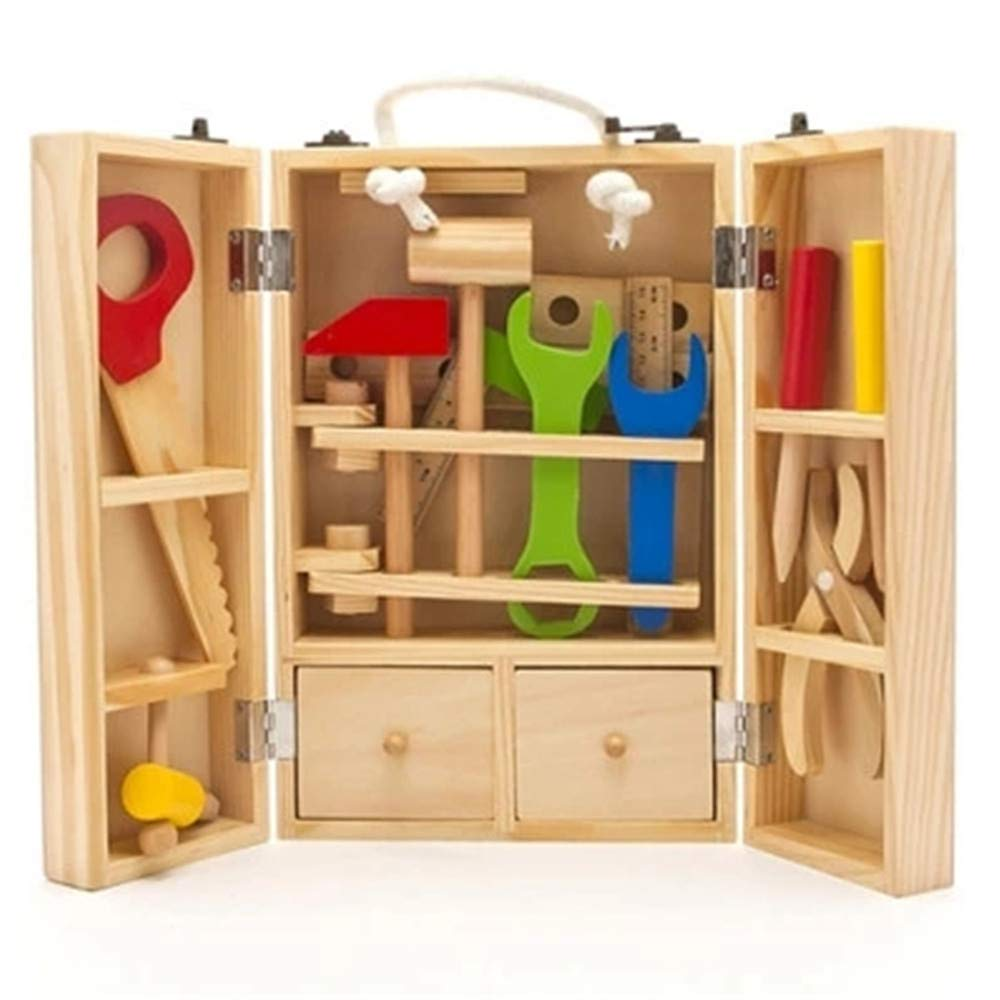 Zxcvlina 幼児用組み立てブロックセット DIYカーペンタートイビルディングと子供用模造修理おもちゃ 木製ツールとキャリーケース   B07MQ99TX1