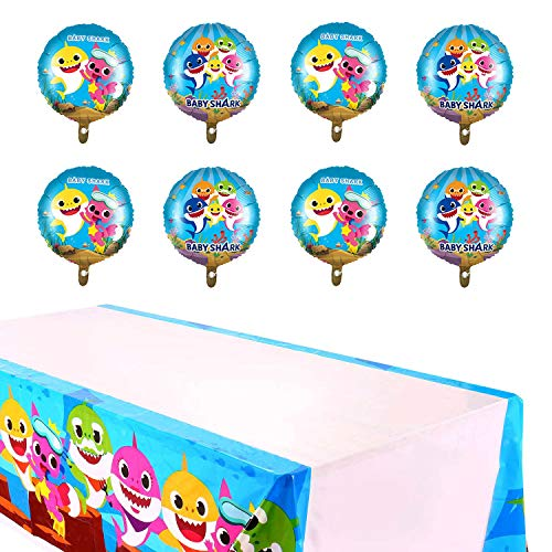 Baby Shark Balloons & Large Table Cover Party Supplies,18 Inch Large Balloons + 7 Feet Table Cover for Baby Shark Theme Birthday Party Decorations