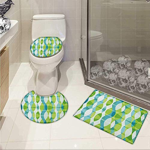 Grunge 3 Piece Toilet Cover Set Geometric Oval Shapes Elliptic Vertical Curves Nature Theme Pattern Pattern Rug Set Apple Green Turquoise White