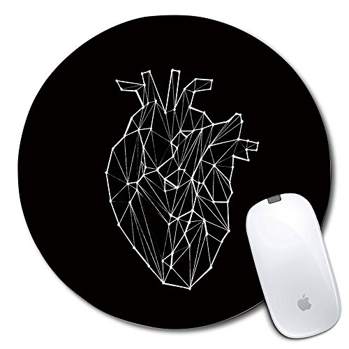 Personalized Round Mouse Pad, Printed Heart Pattern, Non-Slip Rubber Comfortable Customized Computer Mouse Pad (7.87x7.87inch)