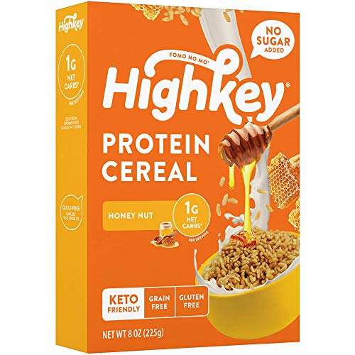 HighKey High Protein Keto Cereal - Low Carb 1g Healthy Snacks - Sugar Free Breakfast - Gluten Free Snack Food - Paleo, Diabetic, Healthy, Ketogenic Diet Friendly Grocery Cereals & Foods - Honey Nut