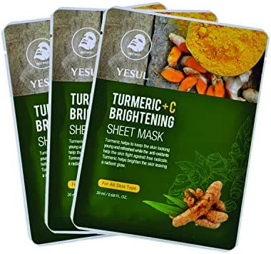 YESUL Turmeric +C Brightening Sheet Masks, 3 ct