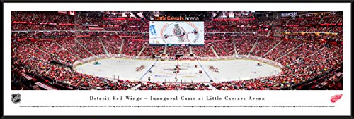 Detroit Red Wings, 1st Game at Lil Caesars - 40.25x13.75-inch Standard Framed Picture by Blakeway Panoramas