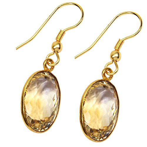 Gold Plated Brass Ring (Sitara Collections SC103037 Gold-Plated Brass Earrings, 1.4-Inch, Citrine)