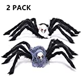LKDEPO(2Pack)35'' Halloween Spider Decorations with Skull Head Body Prop and evil Spider eyes—Black Plush Scary Spider Toys for Kids Halloween Indoor Outdoor Yard Party Decor [LATEST MODEL 2018]