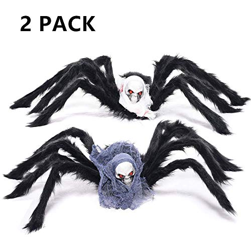 LKDEPO(2Pack)35'' Halloween Spider Decorations with Skull Head Body Prop and evil Spider eyes—Black Plush Scary Spider Toys for Kids Halloween Indoor Outdoor Yard Party Decor [LATEST MODEL 2018] by LKDEPO