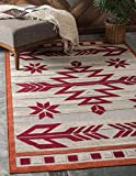 Unique Loom Outdoor Modern Collection Warm Colors Arrows Transitional Indoor and Outdoor Flatweave Burgundy  Area Rug (4' 0 x 6' 0)