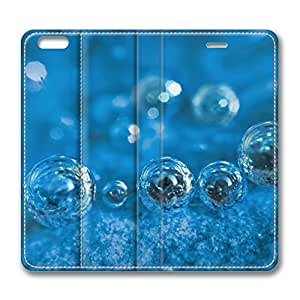 iPhone 6 4.7inch Leather Case - Light Blue Background With Bubbles Fashion Luxury Protective Slim Fit Skin Leather Cover For Iphone 6 [Stand Feature] [Slim - fit] Flip Leather Case Cover for New iPhone 6