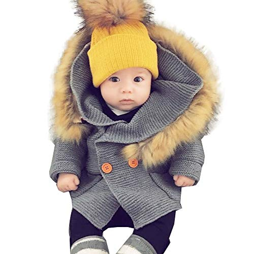 Faux Fur Baby Mittens - Hoodie Sweater Coat,Leegor Toddler Baby Boys Girls Faux Fur Collar Knitted Tops Warm Jacket Clothes (24M, Gray)