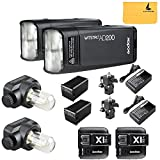 GODOX AD200 TTL 2.4G HSS 1/8000s 2Pcs Pocket Flash Light Double Head 200Ws with 2900mAh Lithium Battery Flashlight Flash Lightning+GODOX X1T-N 2Pcs Wireless Flash Trigger Transmitter For Nikon Cameras