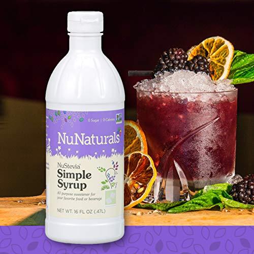 NuNaturals NuStevia Sugar-Free Simple Syrup Natural Stevia Sweetener with 0 Calories, 0 Sugar, 0 Carbs, 385 Servings (16 oz) ()