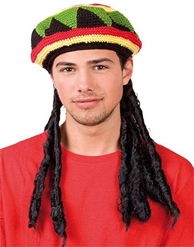 Jamaican Wig (Rimi Hanger Unisex Jamaican Hat With Wig Dreadlocks Bob Marley Fancy Dress Adults Fancy Hat One Size)