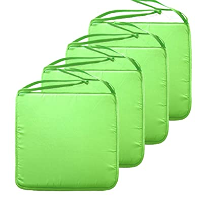 SIMPVALE Square Seat Cushions - Chair Pads with Ties - for Home Garden Patio Indoor Outdoor, 40cmx40cmx1.3cm (Pack of 4, Green) : Industrial & Scientific