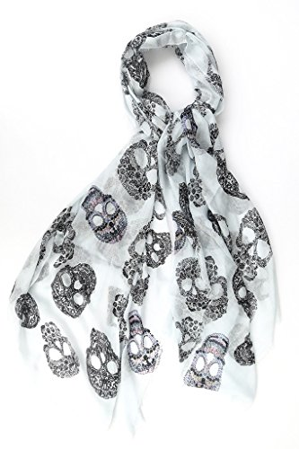 Blue Pacific Frida Sugar Skull Print Cashmere Silk Blend Scarf (Cashmere Silk Blend)