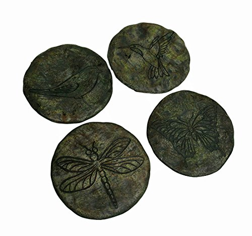 Zeckos Cement Stepping Stones Birds And Bugs Etched Cement Stepping Stones Set Of 4 11.5 X 0.5 X 11.5 Inches (Chickadee Garden Stone)