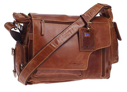 Greenburry Expedition Leather - Sac à bandoulière en cuir - cuir véritable Ueberschlagtasche - 39 x 28 x 13 cm