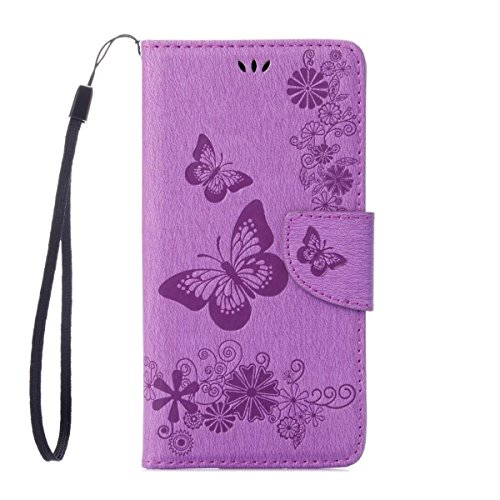 Airport Card G4 (Moto G4 / G4 Plus Case, ARSUE Shock Absorbing Premium Soft Flip Folio [Kickstand Feature] PU Leather Wallet Butterfly Flower Case with ID&Credit Card Pockets for Motorola Moto G4, Moto G4 Plus,Purple)