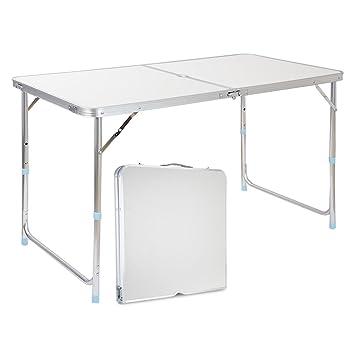 Finether Table De Jardin Pliant Portable En Aluminium Reglable En