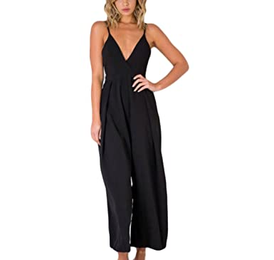 a982e2ad6a5 Rrive Women s Spaghetti Strap Deep V-Neck Tie Knot Baggy Pant Jumpsuits  Rompers Black US