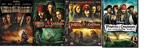 Pirates of the Caribbean 4 Movie Set! Curse of the Black Pearl, Dead Man's Chest, At World's End, and on Stranger Tides 4-DVD Combo! (Pirates Of The Caribbean 2 Dead Mans Chest)